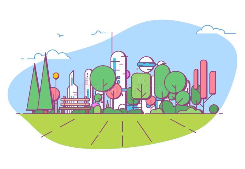 Parc futuriste de ville avec le banc illustration libre de droits