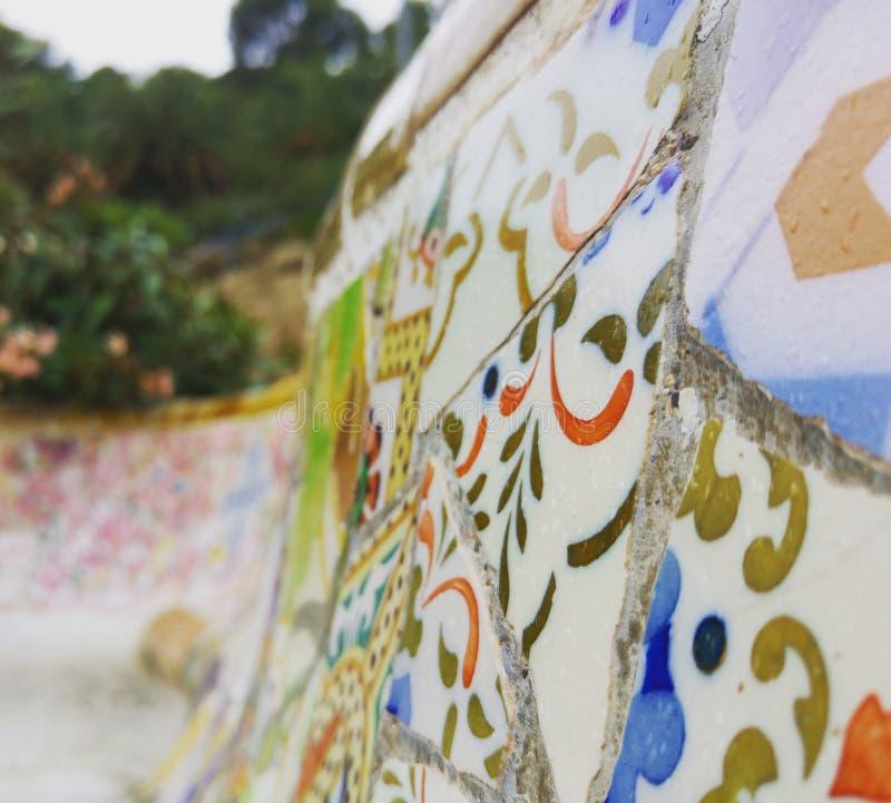 Parc GÃ ¼ ell ławka w Barcelona zdjęcie royalty free