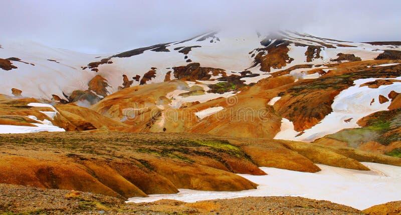Parc g?othermique de Hveradalir, Kerlingarfjoll, Islande photographie stock