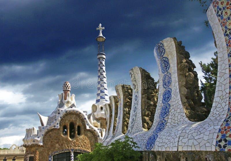 Parc guel巴塞罗那西班牙 免版税库存照片