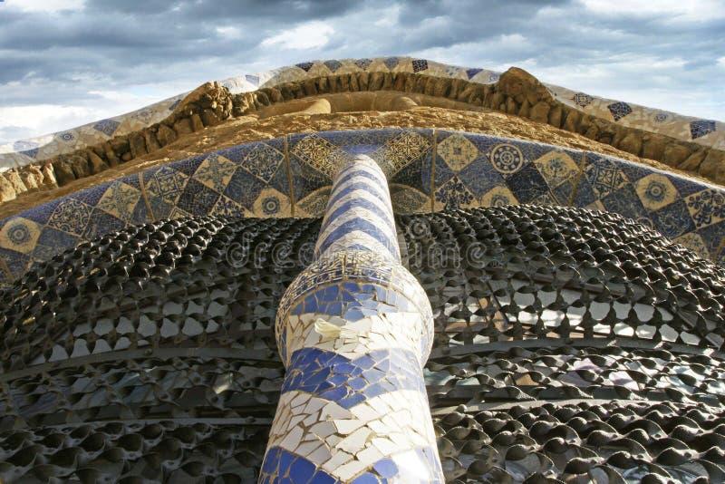Parc Guel Barcelona Spain z mozaic zdjęcie stock