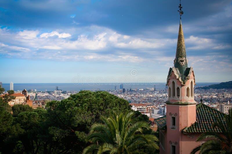 从parc guell的巴塞罗那视图 图库摄影