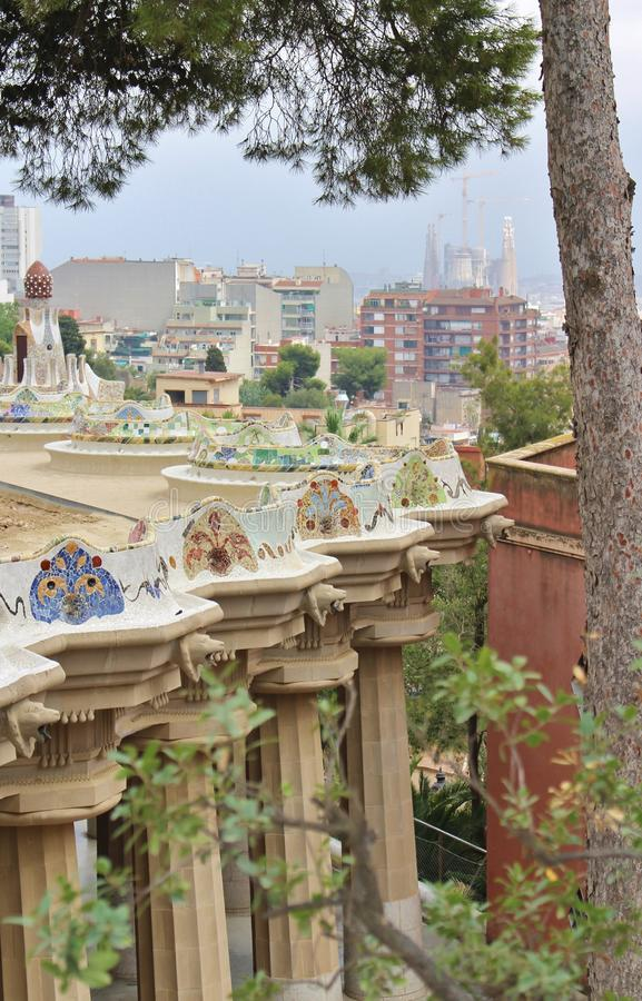 Parc Guell, Barcelona. Parc Güell is a park in Barcelona. It was designed and constructed by Antoni Gaudí together with his assistant Josep Maria Jujol in stock photos