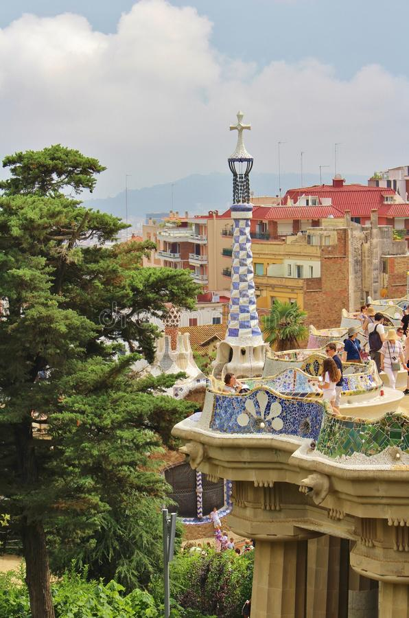 Parc Guell, Barcelona. Parc Güell is a park in Barcelona. It was designed and constructed by Antoni Gaudí together with his assistant Josep Maria Jujol in royalty free stock photos