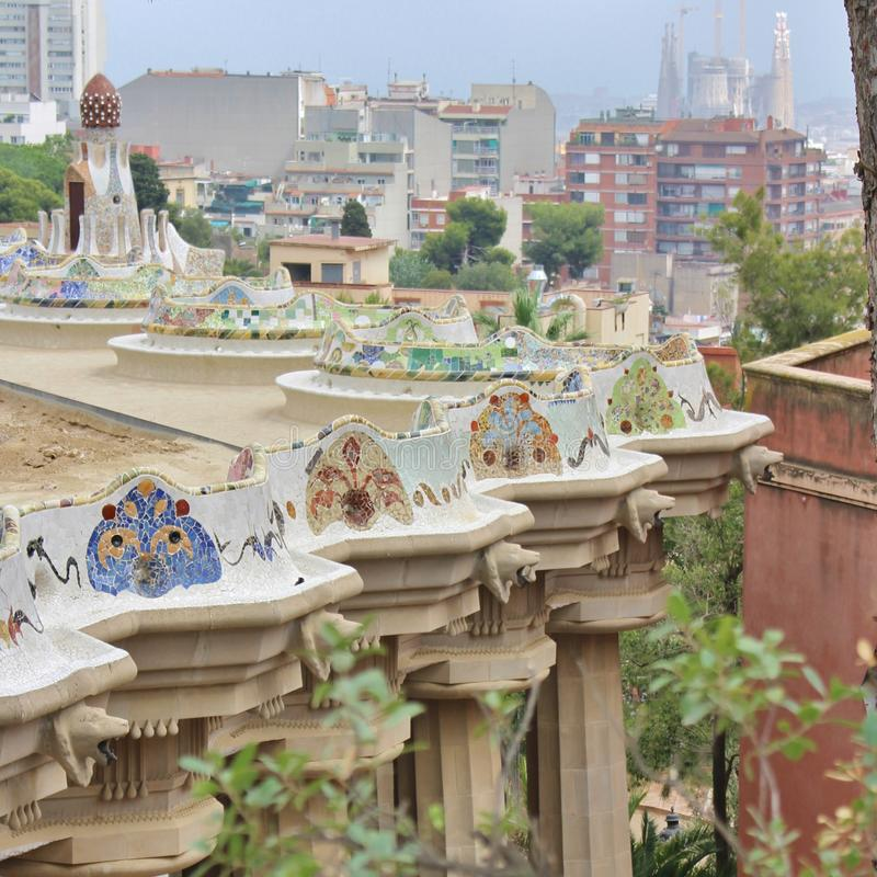 Parc Guell, Barcelona. Parc Güell is a park in Barcelona. It was designed and constructed by Antoni Gaudí together with his assistant Josep Maria Jujol in royalty free stock images