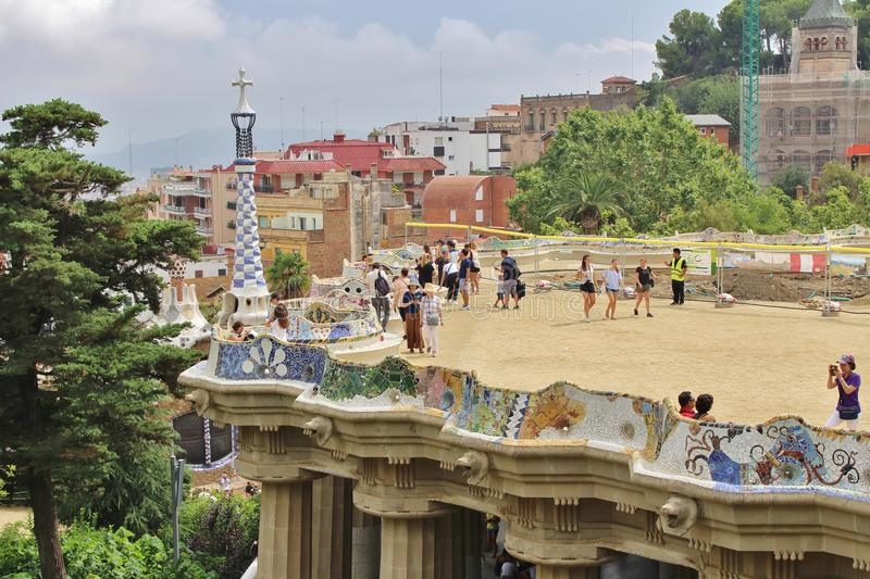 Parc Guell, Barcelona. Parc Güell is a park in Barcelona. It was designed and constructed by Antoni Gaudí together with his assistant Josep Maria Jujol in stock photo