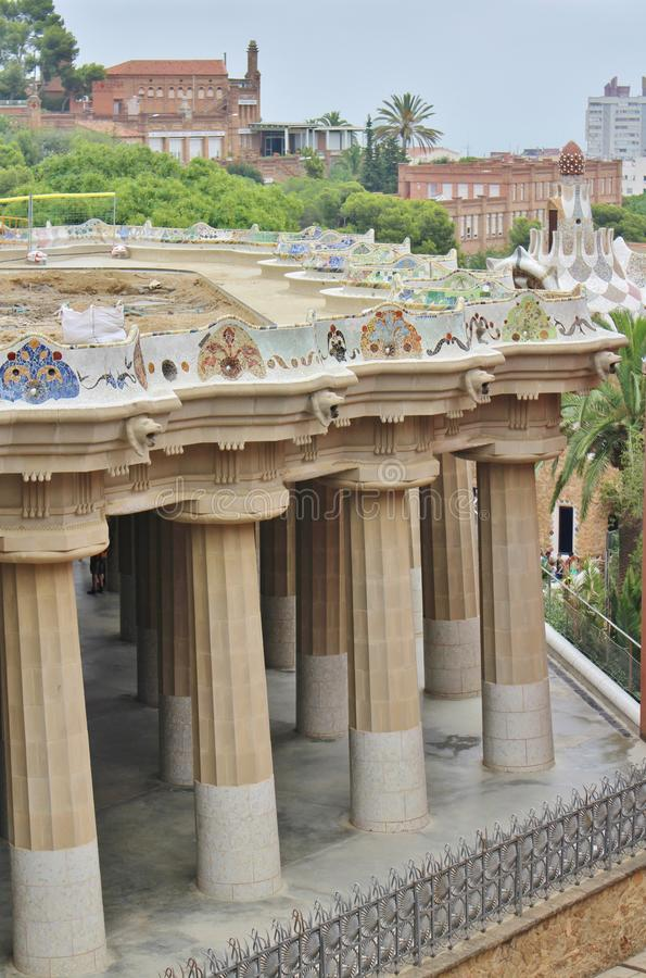 Parc Guell, Barcelona. Parc Güell is a park in Barcelona. It was designed and constructed by Antoni Gaudí together with his assistant Josep Maria Jujol in royalty free stock image