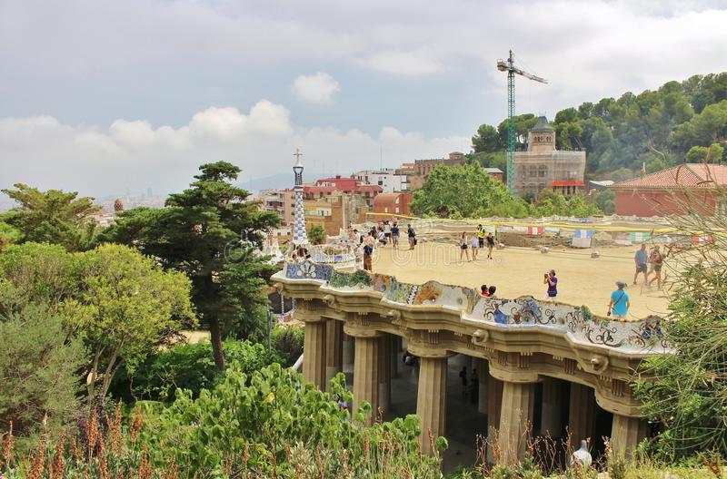 Parc Guell, Barcelona. Parc Güell is a park in Barcelona. It was designed and constructed by Antoni Gaudí together with his assistant Josep Maria Jujol in stock images