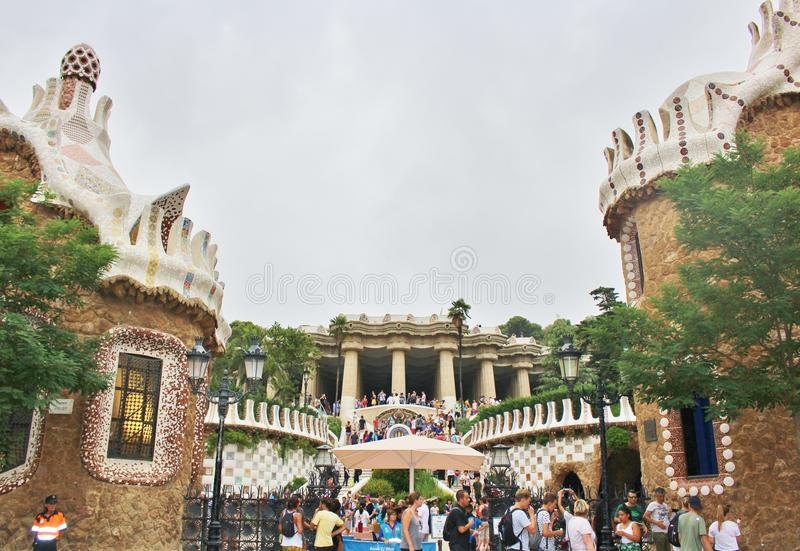 Parc Guell, Barcelona. Parc Güell is a park in Barcelona. It was designed and constructed by Antoni Gaudí together with his assistant Josep Maria Jujol in stock image