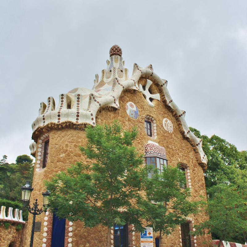 Parc Guell, Barcelona. Parc Güell is a park in Barcelona. It was designed and constructed by Antoni Gaudí together with his assistant Josep Maria Jujol in royalty free stock photography