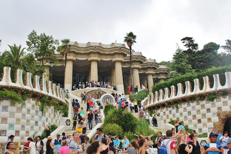 Parc Guell, Barcelona. Parc Güell is a park in Barcelona. It was designed and constructed by Antoni Gaudí together with his assistant Josep Maria Jujol in stock photography