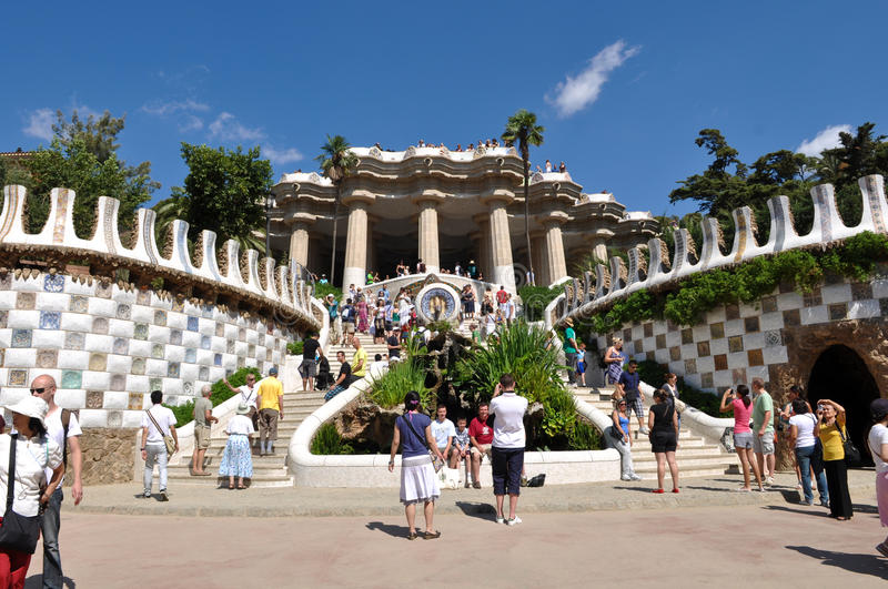 Parc Guell in Barcelona Spain. BARCELONA - July 24: Park Guell, a municipal garden designed by Antoni Gaudi. Built in 1900 - 1914. part of the UNESCO World royalty free stock photography
