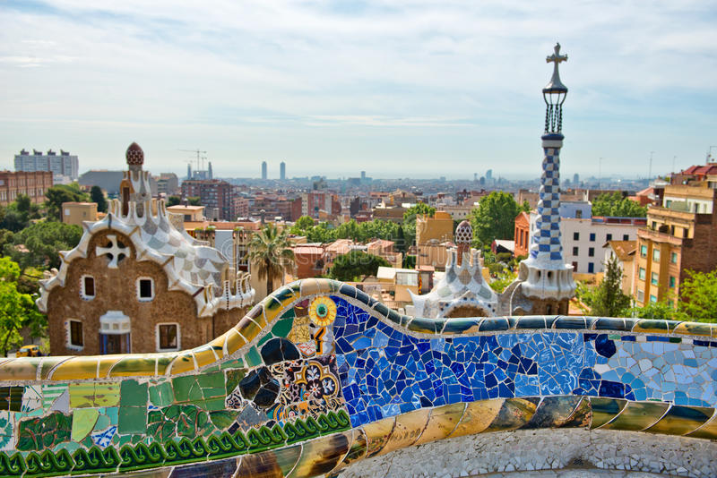 Download Parc Guell Barcelona Spain By Antoni Gaudi Editorial Stock Photo