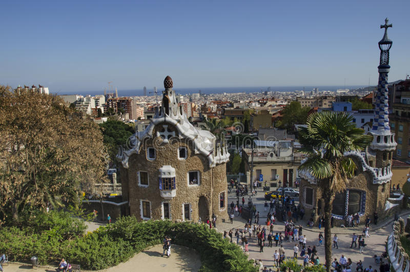 Parc Guell, Barcelona Spain. Entrance of Parc Guell in Barcelona, Spain royalty free stock images