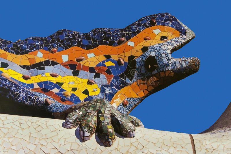 Parc Guell - Barcelona - Spanje stock afbeelding