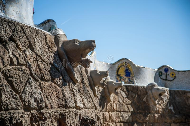 Parc Guell i Barcelona royaltyfri fotografi