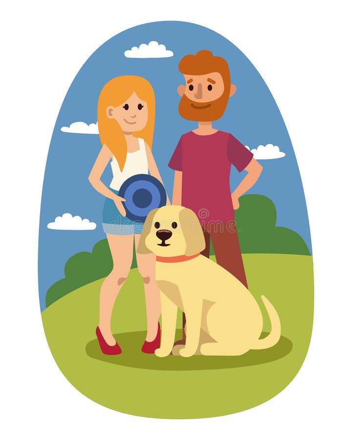 Parc heureux de repos de mode de vie d'été de jeune famille de couples appréciant dehors ensemble l'homme de vacances, de femme e illustration stock