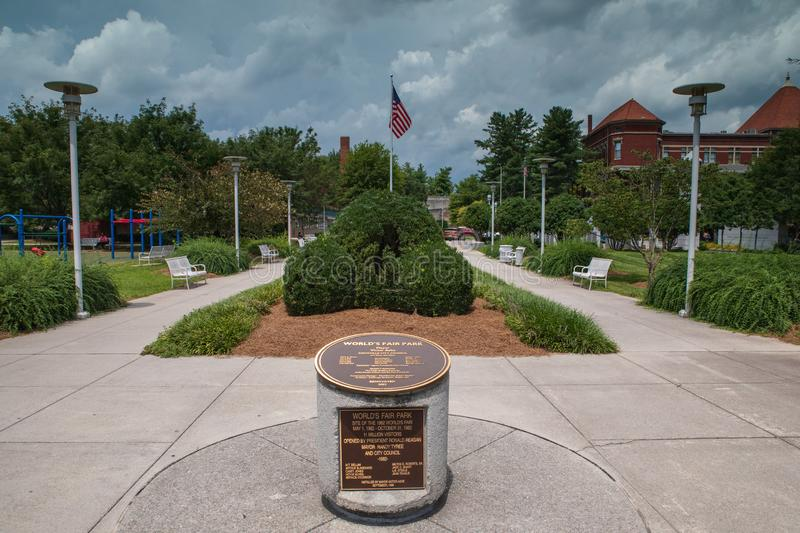 Parc Knoxville Tennessee Dedication Marker d'Exposition universelle photographie stock