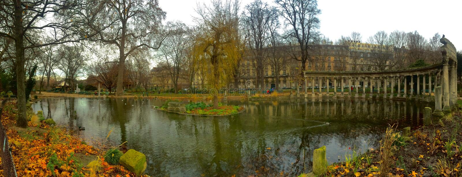 Parc Monceau. Beautiful panoramic shot of Parc Monceau in Paris' 8th arrondissement. It is known for its follys of famous architectural wonders stock photography