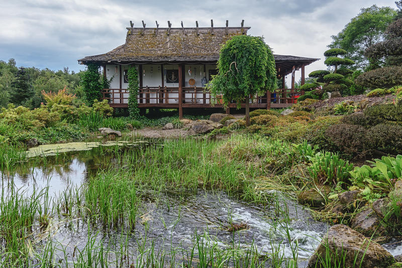 Parc Mondo Verde, imagem do jardim japonês foto de stock