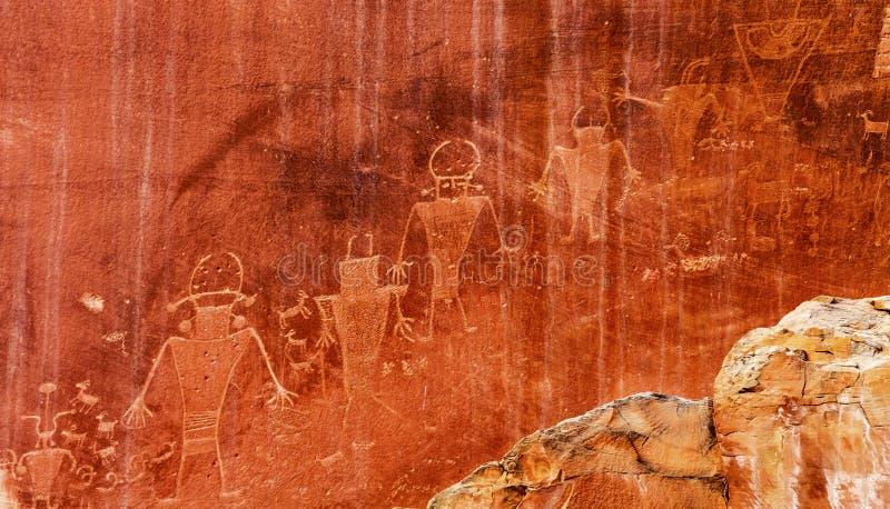 Parc national d'Indien d'Amerique de Fremont de récif capital indigène de pétroglyphes images libres de droits