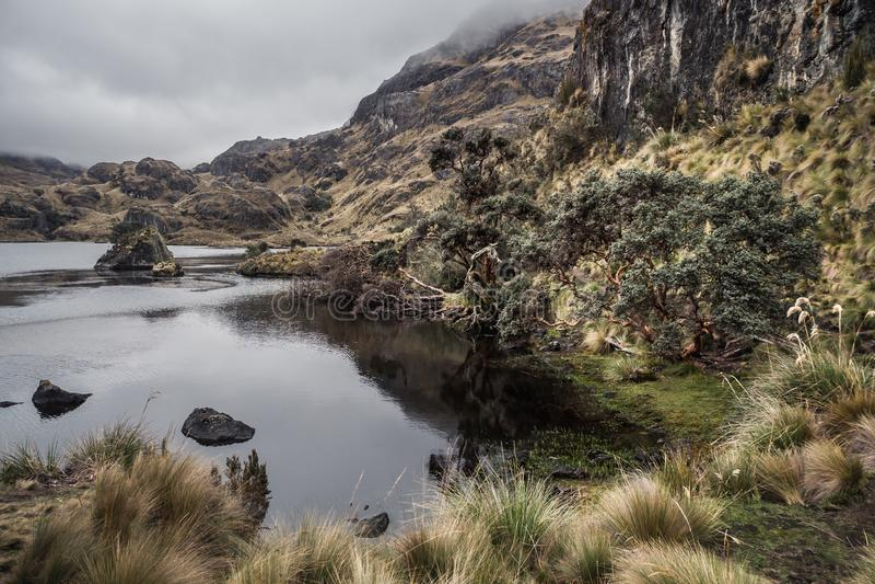 Parc national de Cajas dans la ville de Cuenca en Equateur photo stock
