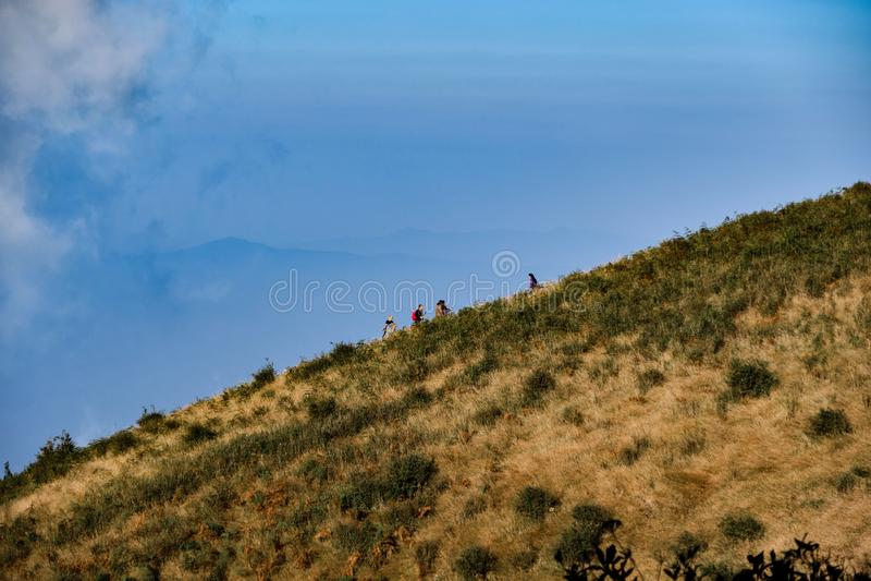 Parc national de Doi Inthanon, Chiang Mai, Thaïlande, Kew Mae Pan Nature Trail, vue de traverler de groupe marchant sur le chemin photographie stock