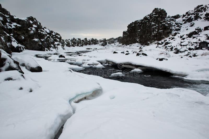 Parc national de Pingvellir, rivière d'hiver dans la crevasse des plats continentaux, Islande photo stock