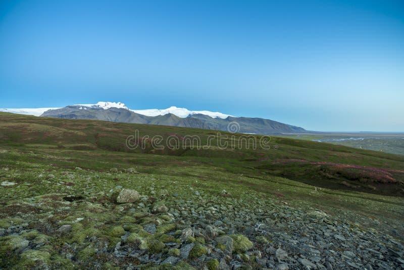 Parc national de Skaftafell en Islande avec la vue de la montagne de chapeau de neige de vatnajokull photos libres de droits