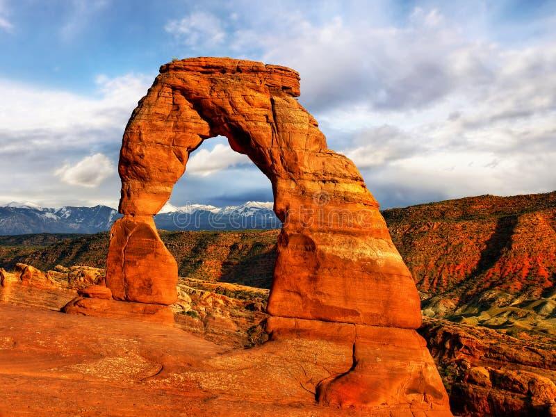 Parc national de voûtes, paysage de désert de coucher du soleil, Utah images stock