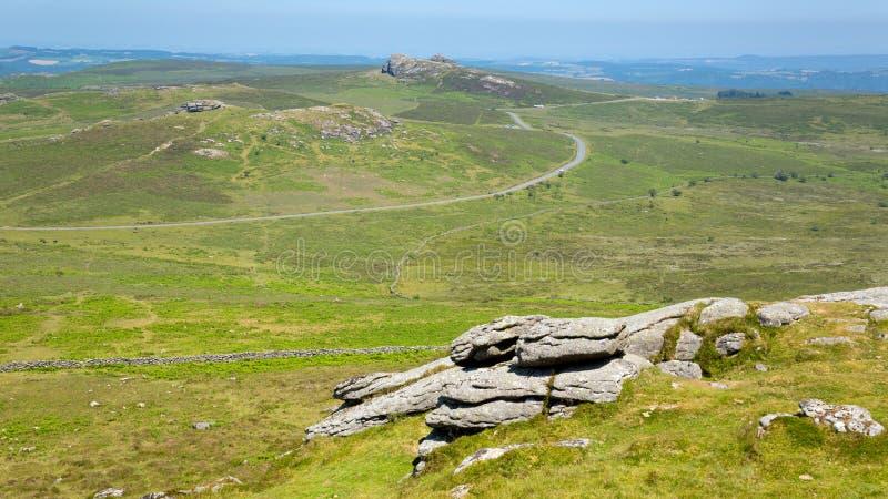 Parc national Devon England R-U de Dartmoor de colline de Haytor images libres de droits
