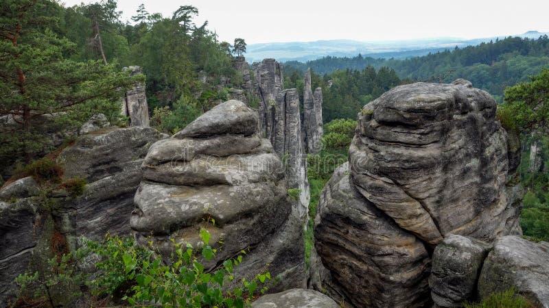 Parc naturel de pilier de roche Vue à partir des dessus de montagne photographie stock libre de droits
