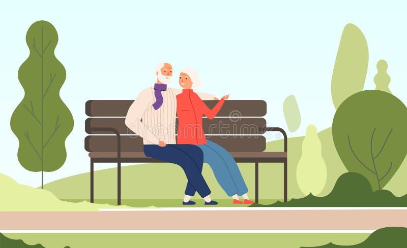 Parc plus âgé de couples Grand-mère première génération heureuse d'aînés s'asseyant sur la vieille famille de banc dans le vecteu illustration stock