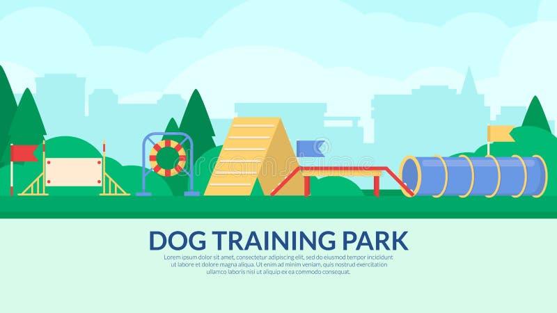 Parc s'exerçant de chien Bannière avec l'équipement de sport d'agilité Vecteur plat illustration stock