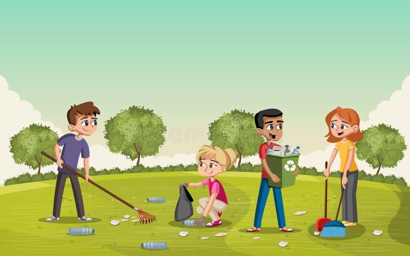 Parc vert coloré avec des adolescents nettoyant des déchets illustration libre de droits