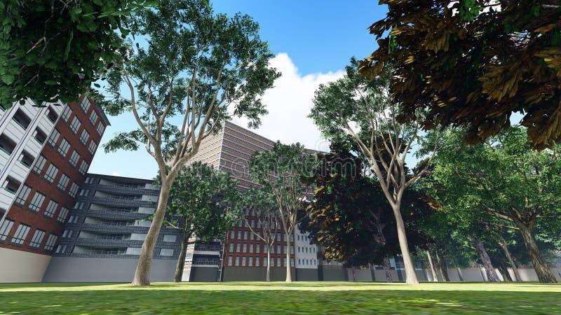 Parc vert de ville dans le rendu ensoleillé et beau du jour d'été 3d illustration stock