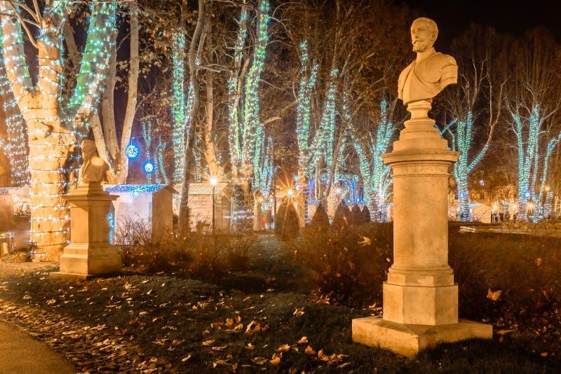 Parc Zrinjevac dans l'avènement, Zagreb image libre de droits