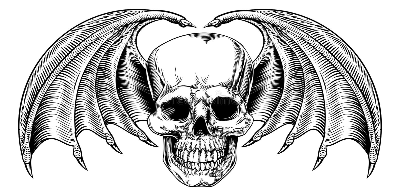 Parca con alas del cráneo ilustración del vector