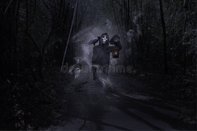Parca en el bosque, día de Halloween, marioneta del fantasma imágenes de archivo libres de regalías