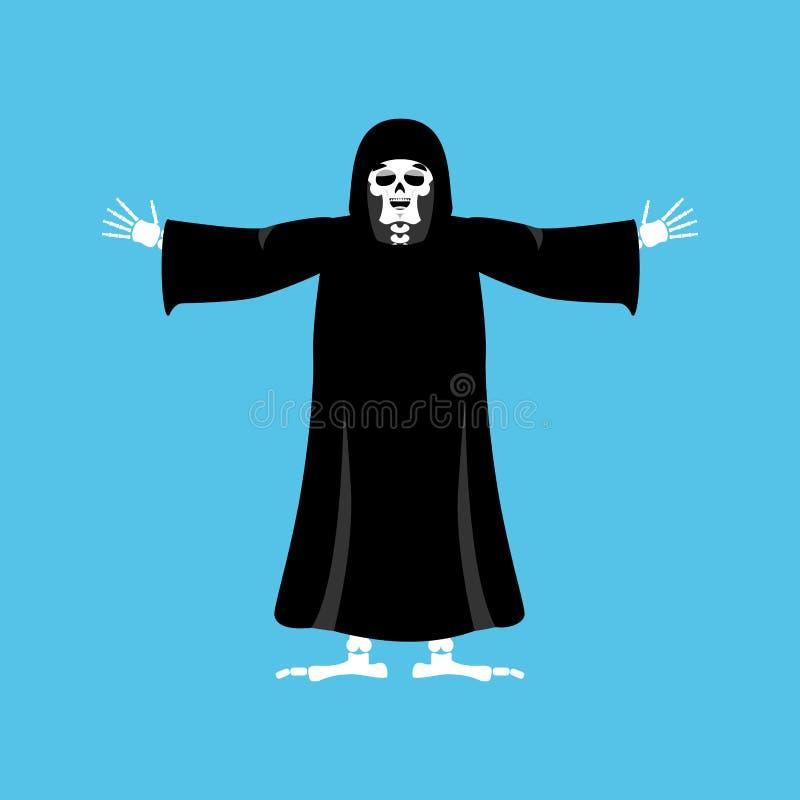 Parca feliz muerte feliz esqueleto en la capa negra alegre libre illustration