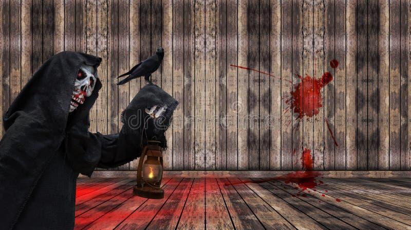 Parca y cuervo en el sitio vacío marrón, día de Halloween, marioneta del fantasma imagen de archivo libre de regalías