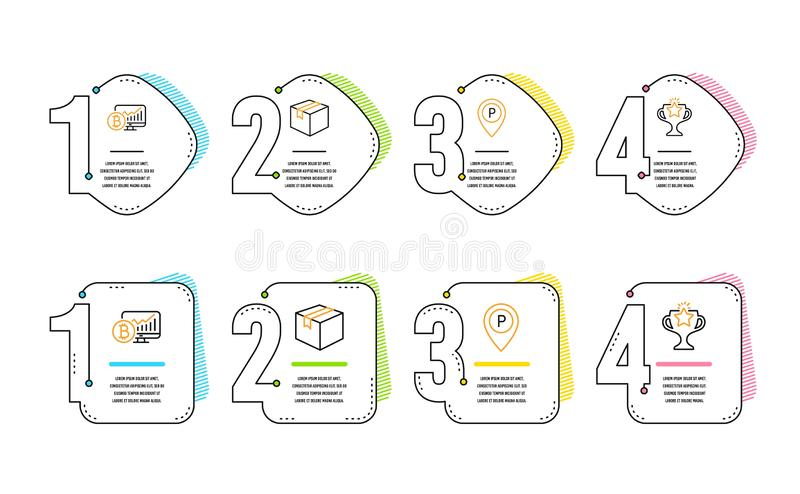 Parcel, Bitcoin chart and Parking icons set. Victory sign. Vector. Parcel, Bitcoin chart and Parking icons simple set. Victory sign. Shipping box, Cryptocurrency stock illustration