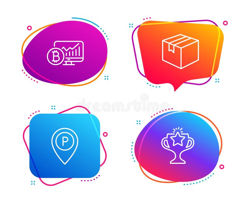 Parcel, Bitcoin chart and Parking icons set. Victory sign. Vector. Parcel, Bitcoin chart and Parking icons simple set. Victory sign. Shipping box, Cryptocurrency vector illustration