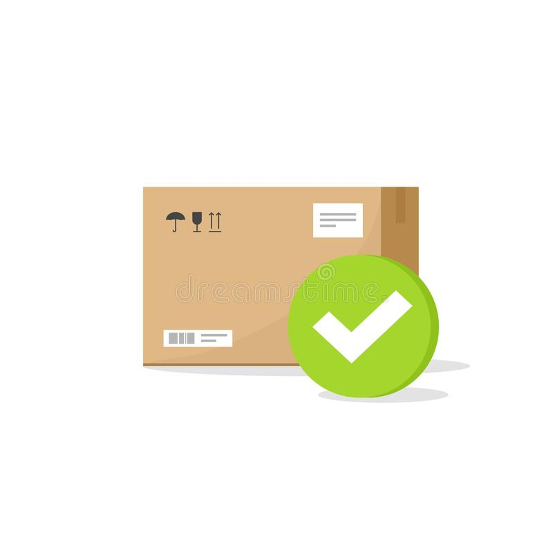 Parcel box with checkmark sign vector icon, flat cartoon parcel with tick, concept of approved or accepted delivery vector illustration