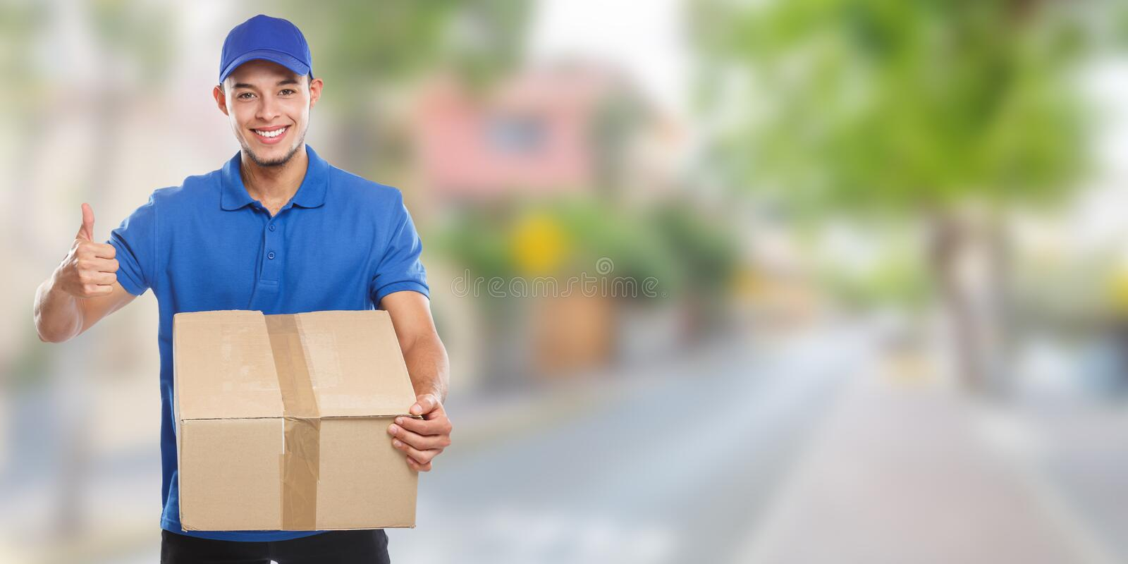 Parcel delivery service box package order delivering job banner success town copyspace copy space. Outdoors royalty free stock images