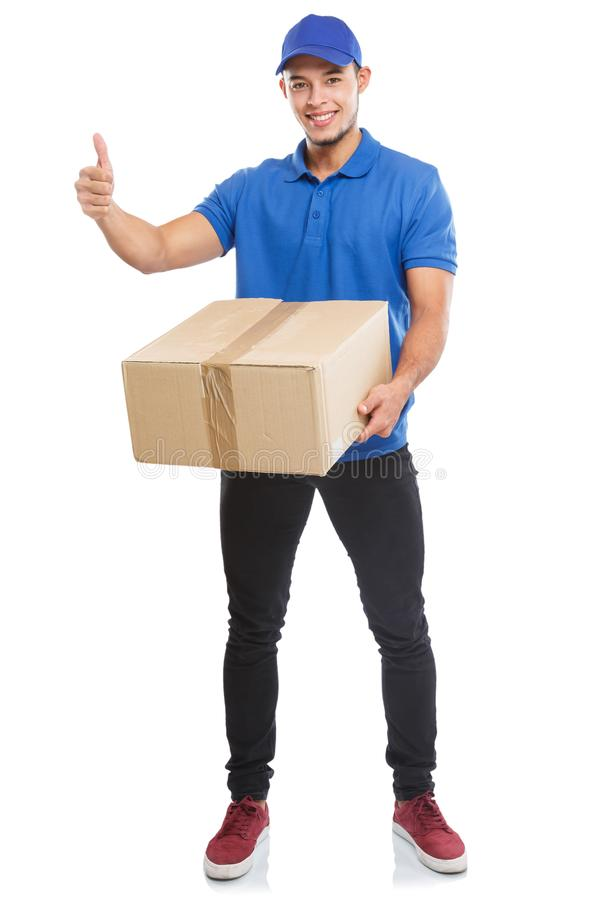 Parcel delivery service box package order delivering job success full body portrait isolated on white. Parcel delivery service box package order delivering job stock image