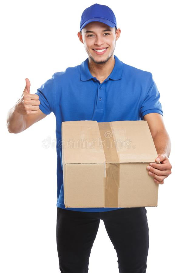 Parcel delivery service box package order delivering job success isolated on white. Parcel delivery service box package order delivering job success isolated on stock photos