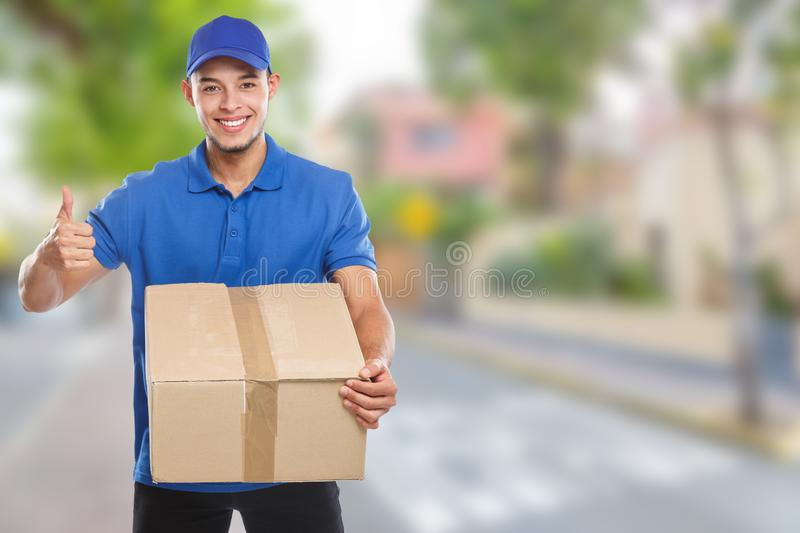 Parcel delivery service box package order delivering job success town copyspace copy space. Outdoors stock photos