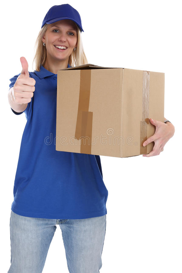 Parcel delivery service box package woman delivering job thumbs. Up isolated on a white background royalty free stock images