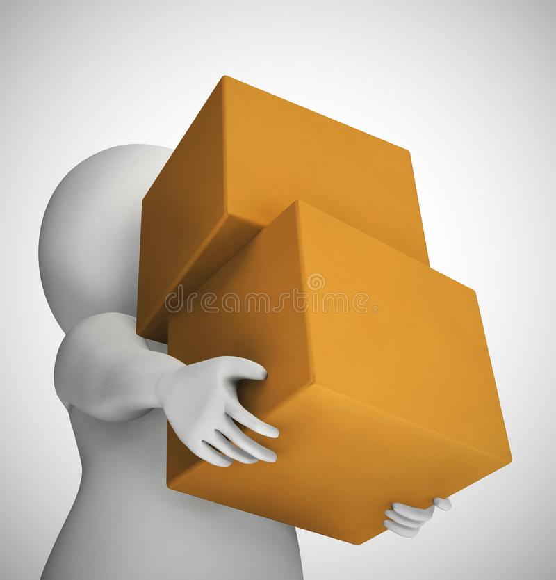 Parcel or package delivery depicts distributing Postal Services  or freight - 3d illustration. Parcel or package delivery depicts distributing Postal Services vector illustration